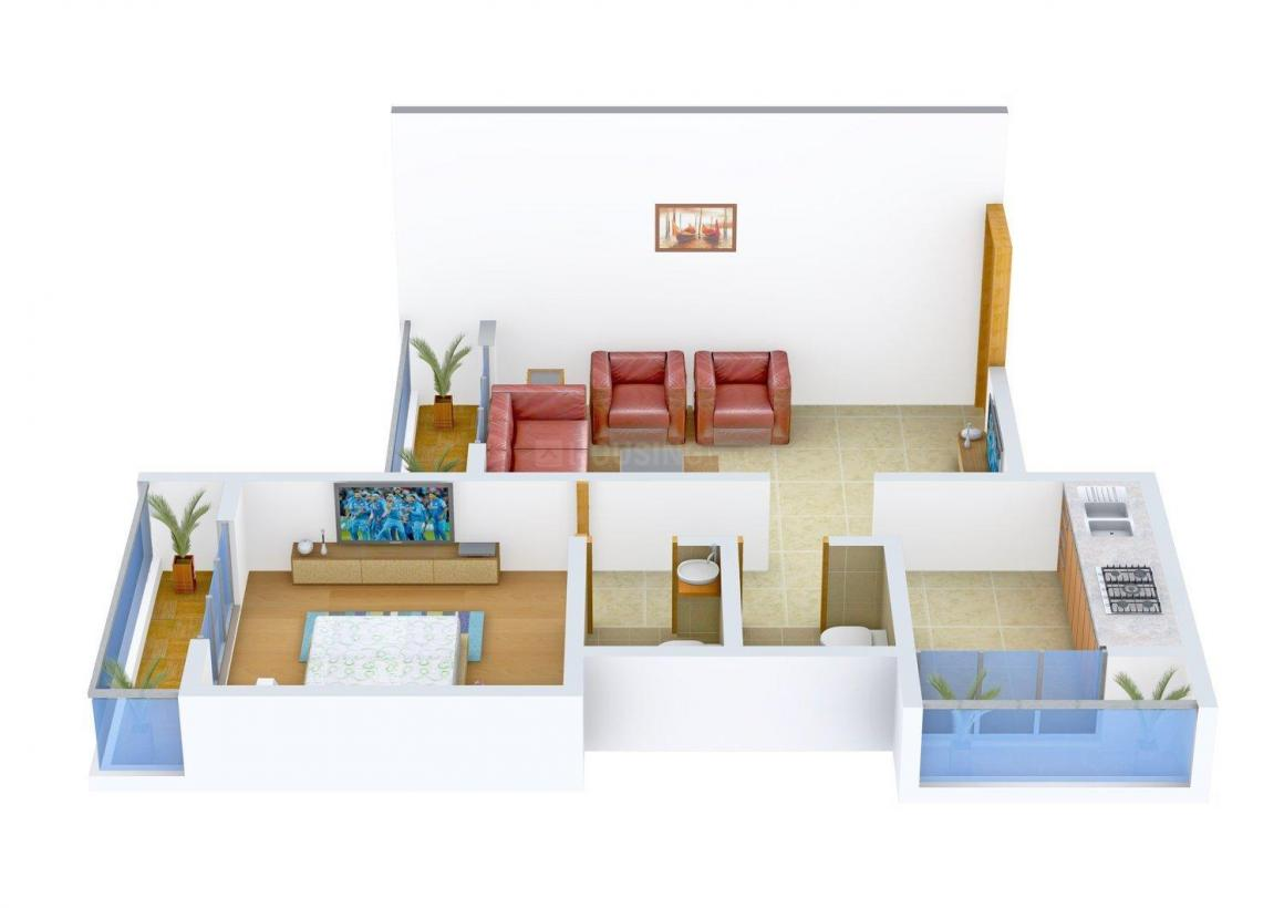 Floor Plan Image of 0 - 682 Sq.ft 1 BHK Apartment for buy in Anjali Escon Residency