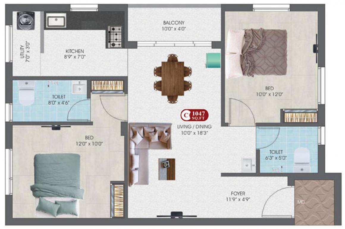 DAC Sampurna Floor Plan: 2 BHK Unit with Built up area of 1047 sq.ft 1