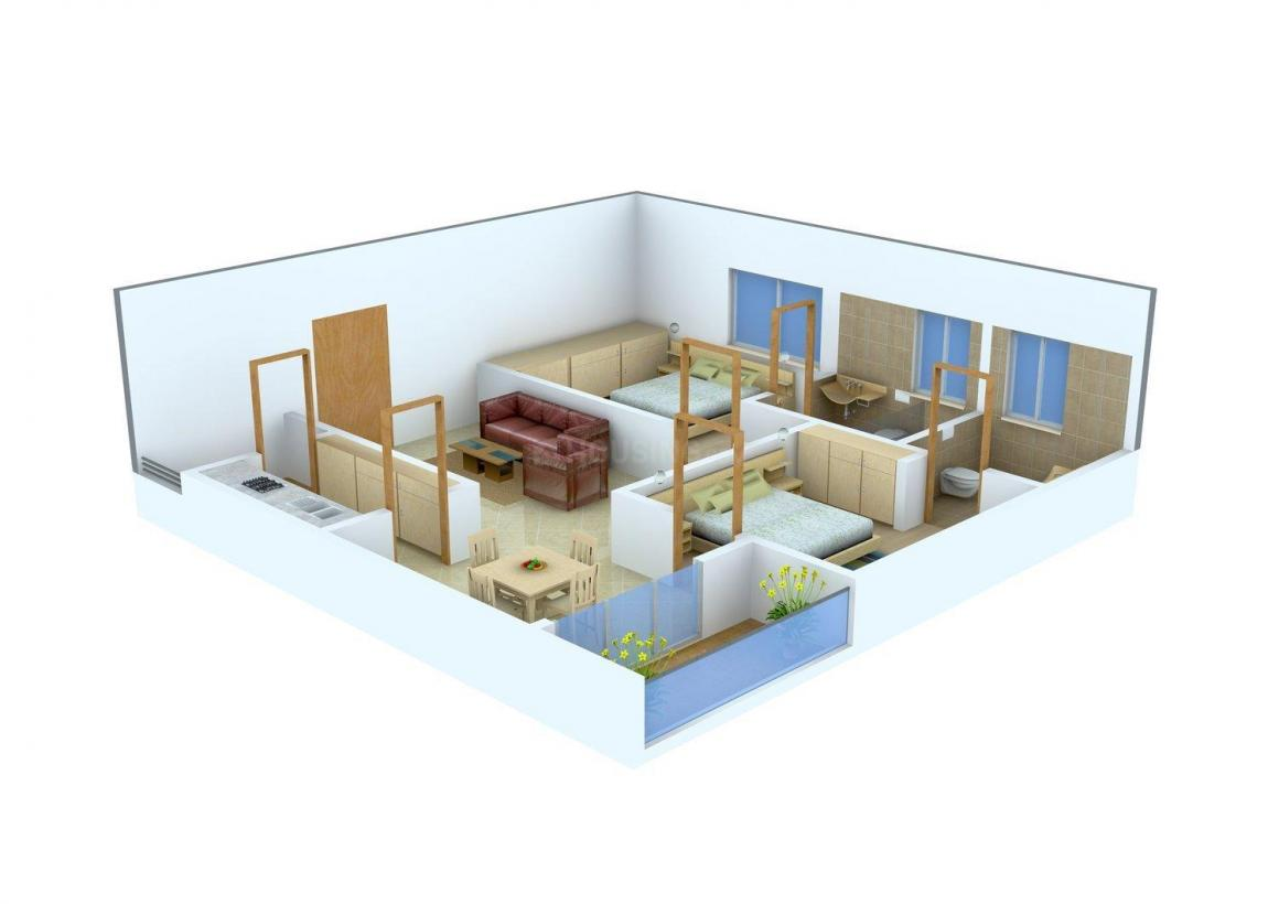 Imperial Fortune Hill View Floor Plan: 2 BHK Unit with Built up area of 1049 sq.ft 1