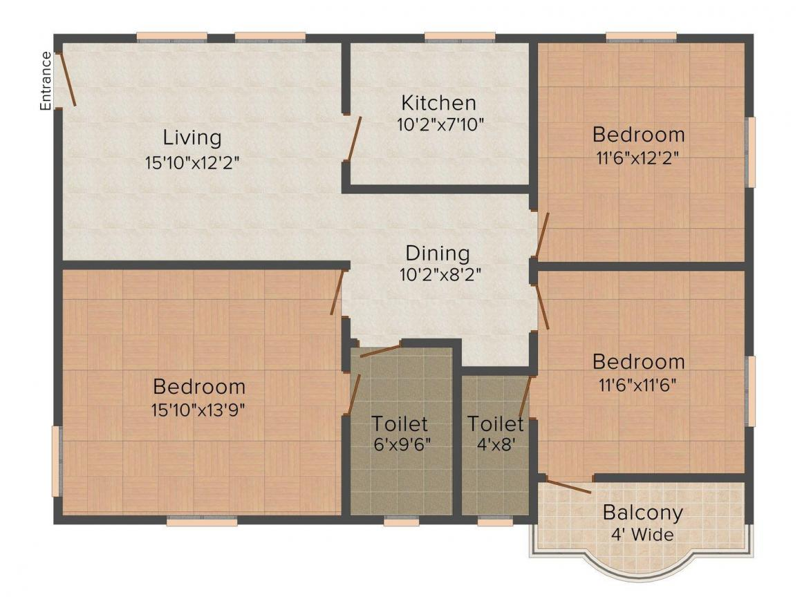 Floor Plan Image of 1475 - 1601 Sq.ft 3 BHK Apartment for buy in Tilak Ratan Orchid Residency