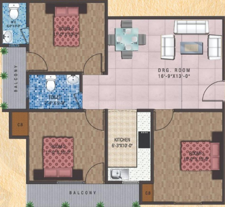 Ganga Residency Floor Plan: 3 BHK Unit with Built up area of 1251 sq.ft 1