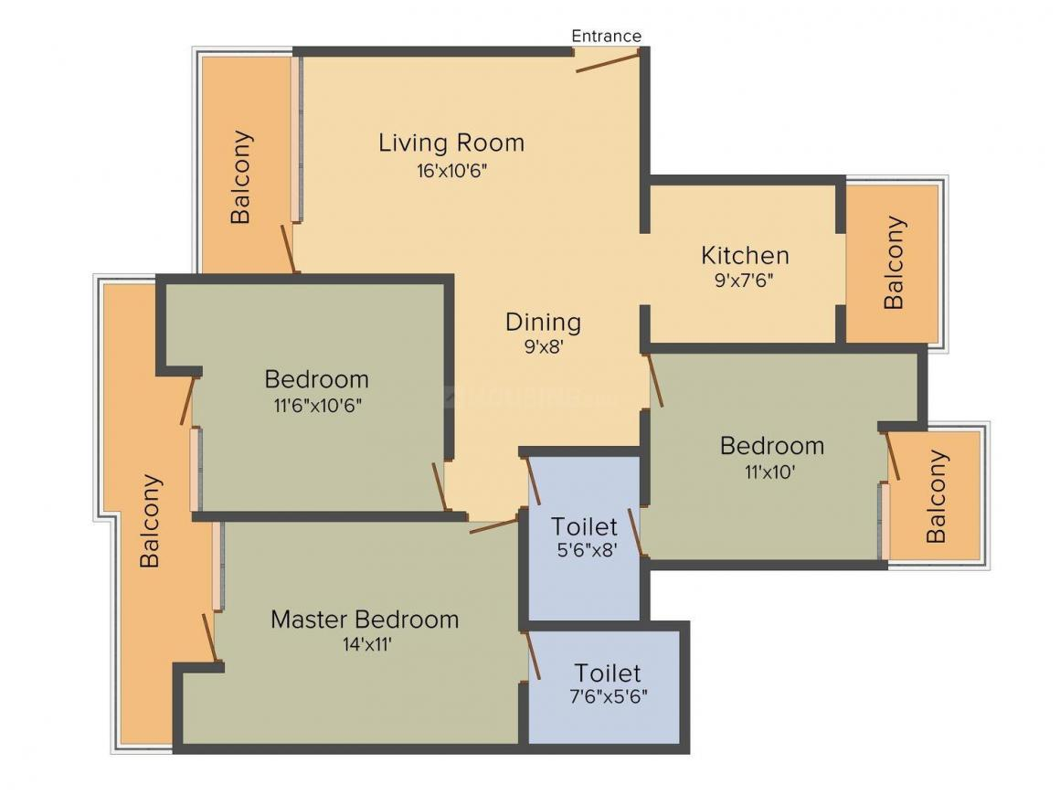 Victory Ace Floor Plan: 3 BHK Unit with Built up area of 1475 sq.ft 1