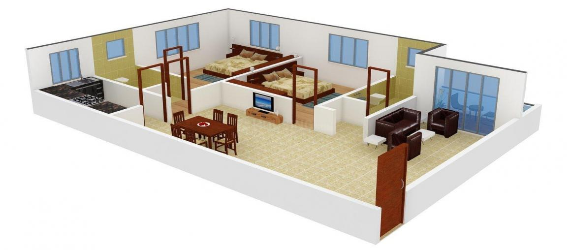 Floor Plan Image of 944 - 1408 Sq.ft 2 BHK Apartment for buy in Girik Tower