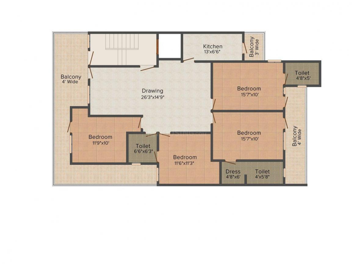 Floor Plan Image of 0 - 1827.0 Sq.ft 4 BHK Independent Floor for buy in Home Retreat The Saffron Homes 16