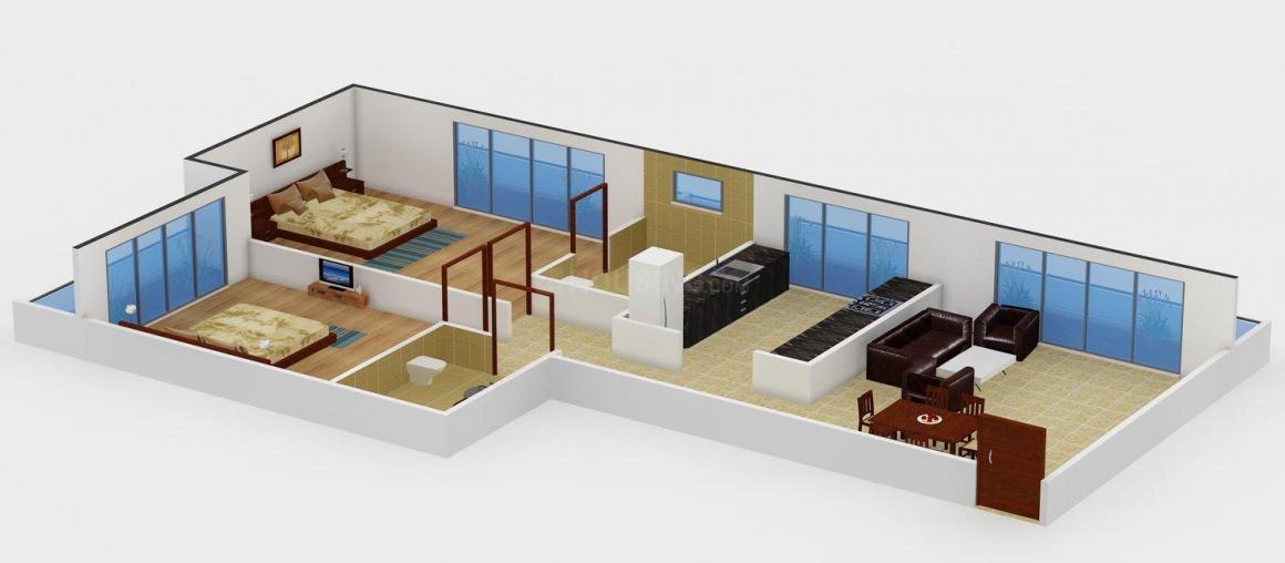 Floor Plan Image of 750 - 940 Sq.ft 2 BHK Apartment for buy in Indu Realty Nivaan Manor