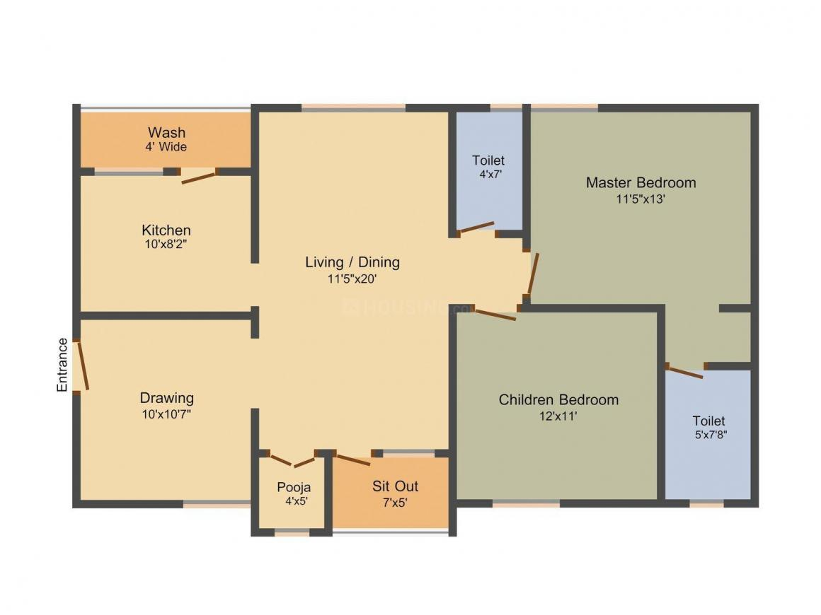 Floor Plan Image of 1270.0 - 1922.0 Sq.ft 2 BHK Apartment for buy in Aryamitra Florina