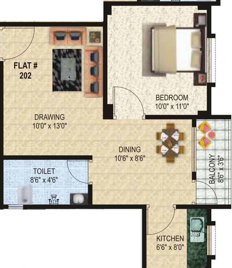 Chhitij Floors Surendra Sunrise Enclave Floor Plan: 1 BHK Unit with Built up area of 624 sq.ft 1