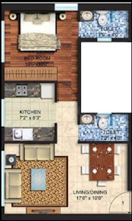 Spenta Alta Vista Floor Plan: 1 BHK Unit with Built up area of 436 sq.ft 1
