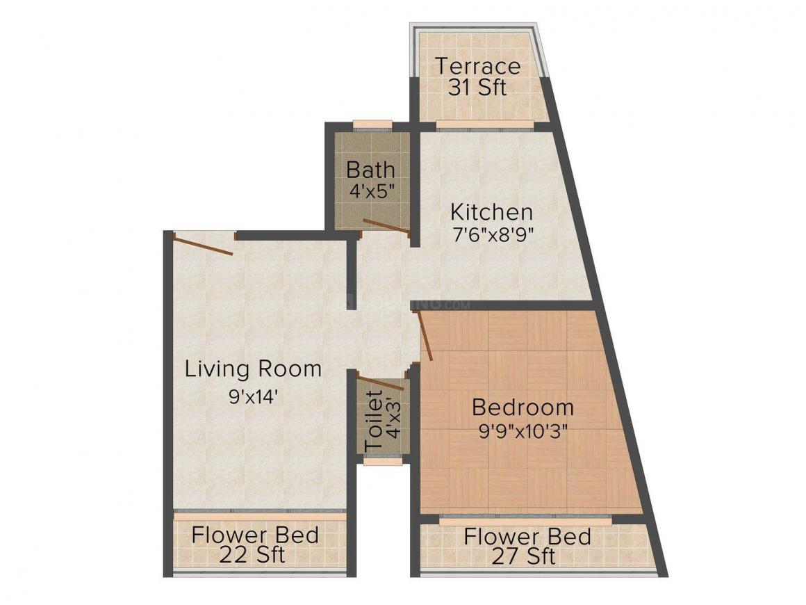 Floor Plan Image of 0 - 650.0 Sq.ft 1 BHK Apartment for buy in Shivalay Sai Shraddha