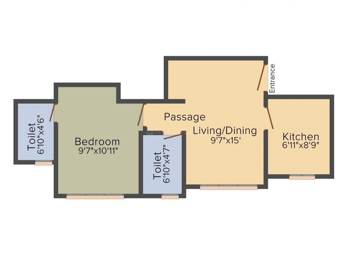 Hiranandani The Walk Floor Plan: 1 BHK Unit with Built up area of 403 sq.ft 1