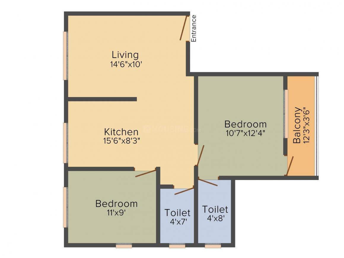 Floor Plan Image of 811 - 914 Sq.ft 2 BHK Apartment for buy in Shivam Rajgad Apartment