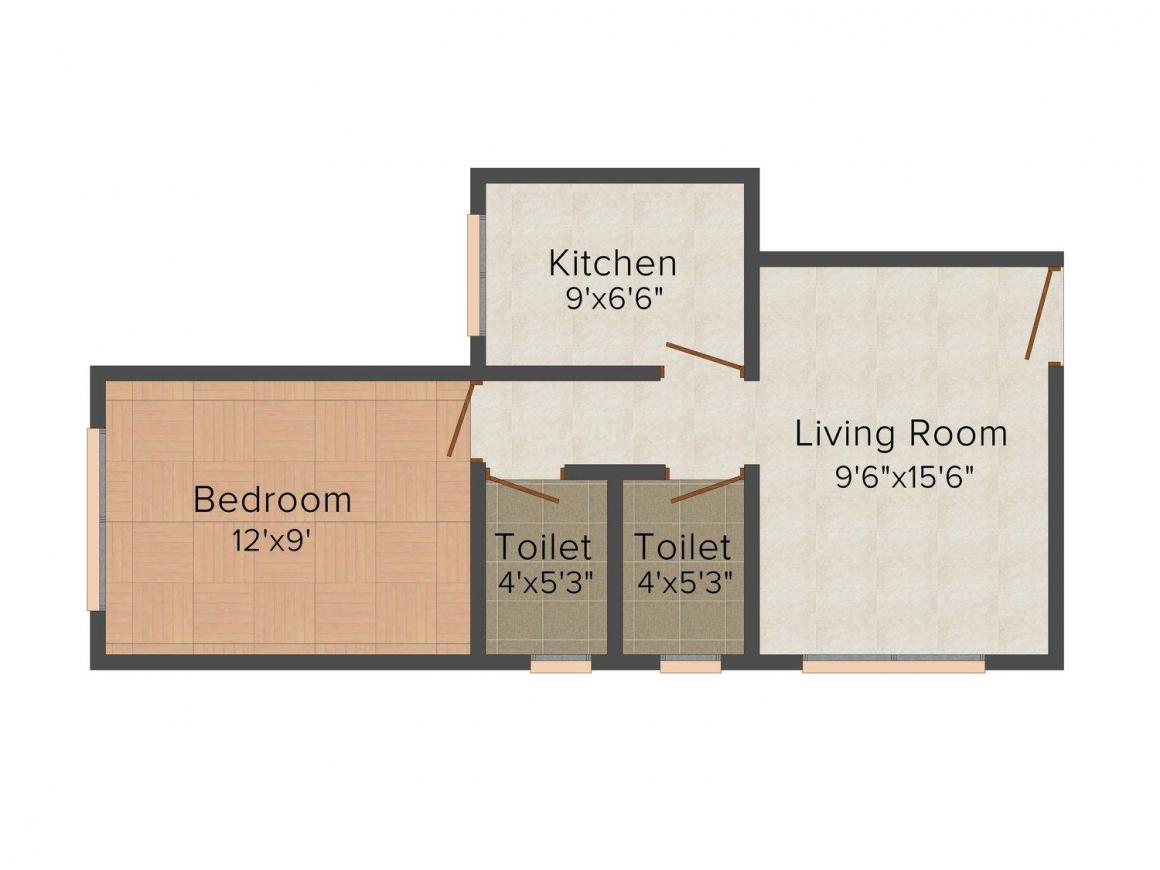 Floor Plan Image of 256 - 625 Sq.ft 1 BHK Apartment for buy in Raviraj Tarang