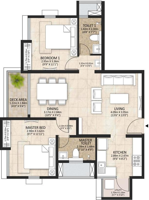 Mahindra Lakewoods Floor Plan: 2 BHK Unit with Built up area of 1079 sq.ft 1