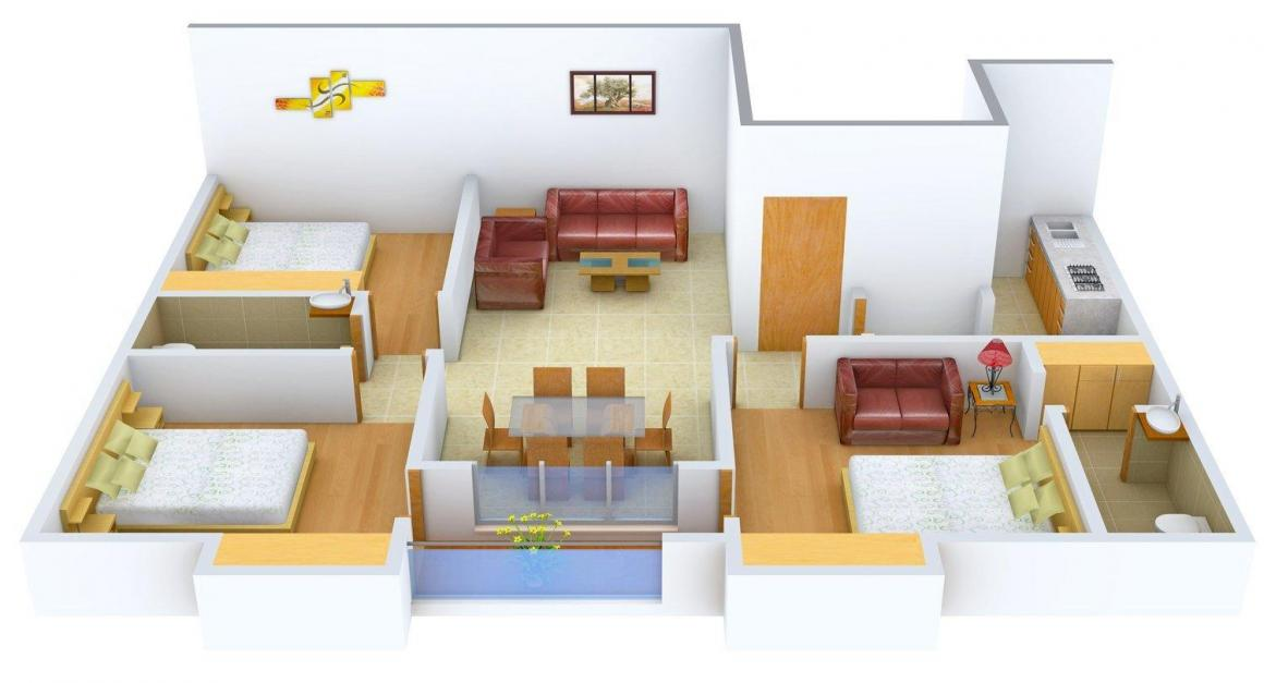 Floor Plan Image of 0 - 1350.0 Sq.ft 3 BHK Apartment for buy in S. S. Bituchem 113 Jodhpur Park