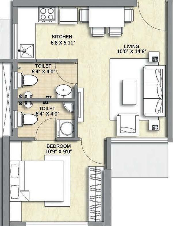 Chandak Nishchay Wing D Floor Plan: 1 BHK Unit with Built up area of 342 sq.ft 1
