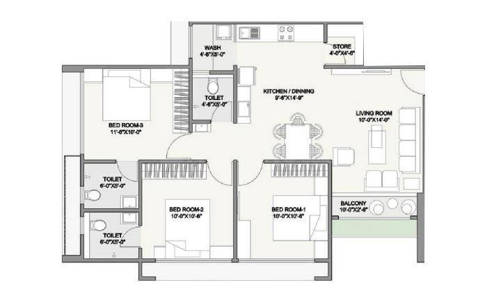 Suryam Ananta Floor Plan: 3 BHK Unit with Built up area of 950 sq.ft 1