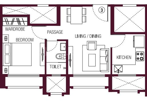 Hiranandani Solitaire B Floor Plan: 1 BHK Unit with Built up area of 367 sq.ft 1