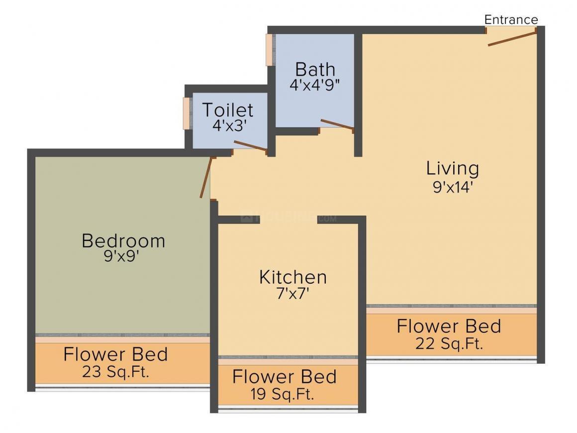 Floor Plan Image of 445 - 610 Sq.ft 1 RK Apartment for buy in Pioneer Sai Aangan