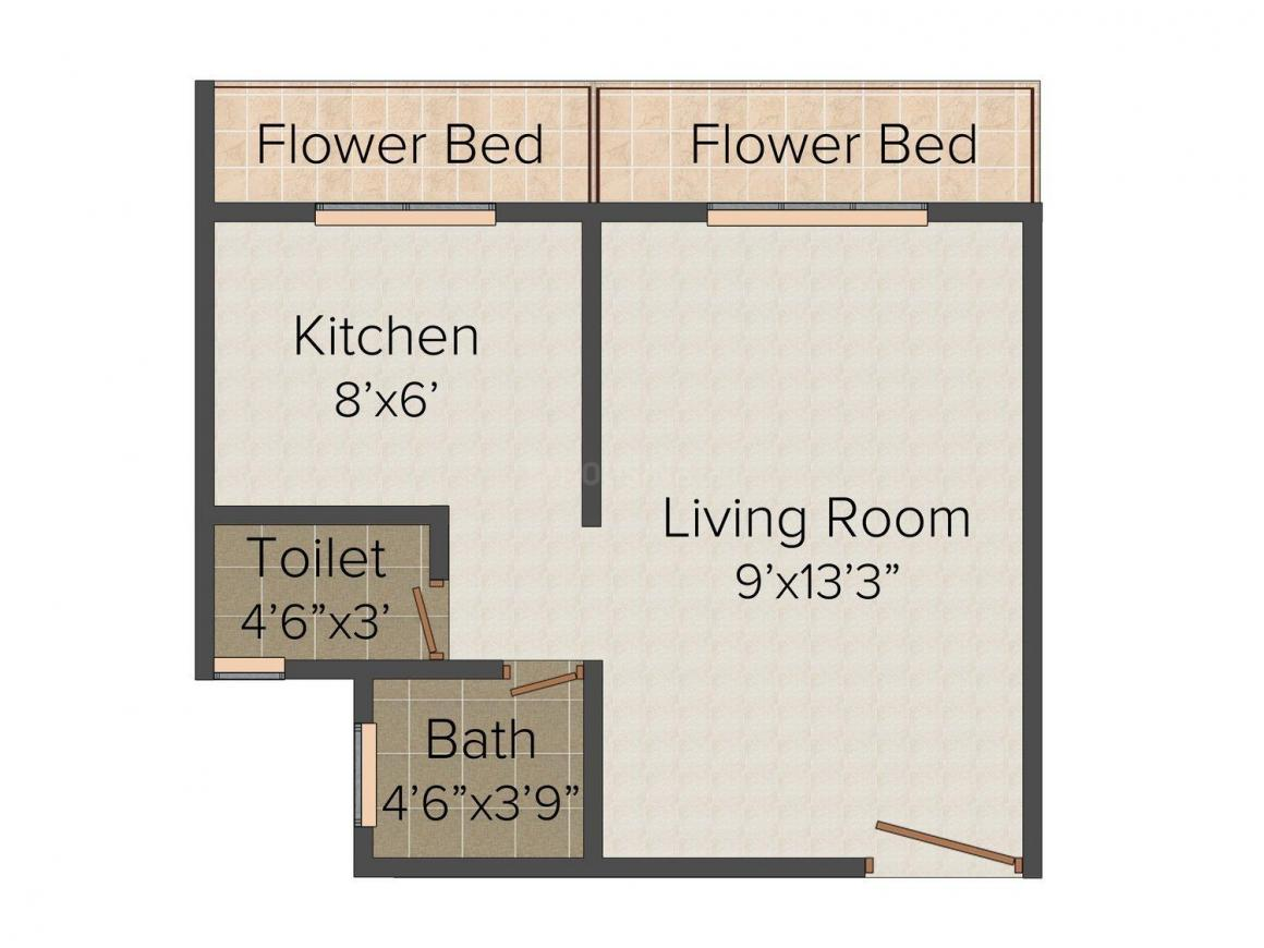 Floor Plan Image of 380 - 540 Sq.ft 1 RK Apartment for buy in Om Shiv