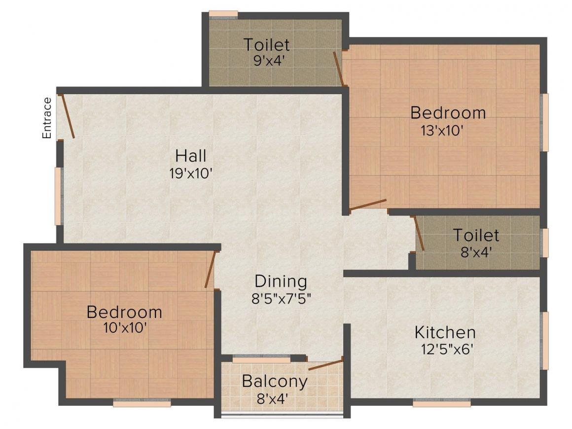Malar Angelica Floor Plan: 2 BHK Unit with Built up area of 1079 sq.ft 1