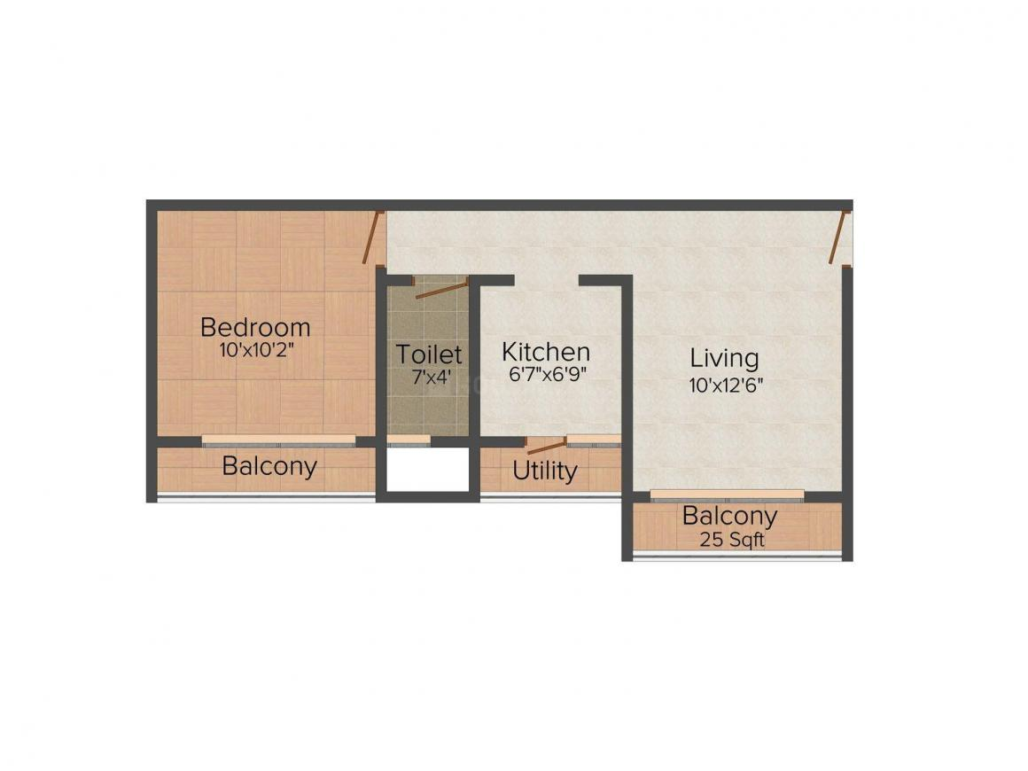 Floor Plan Image of 0 - 440 Sq.ft 1 BHK Apartment for buy in Hi-Tech Tulsi Residency