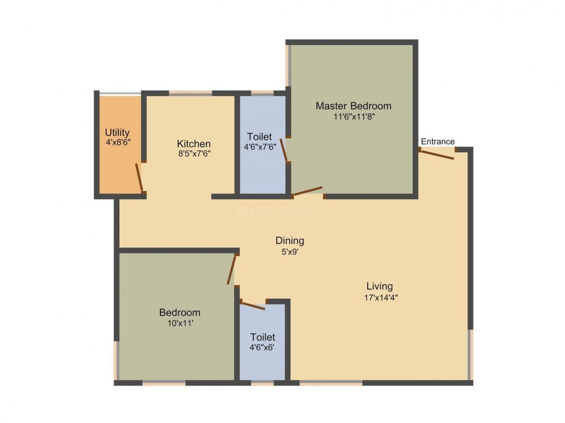 Floor Plan Image of 0 - 1048.0 Sq.ft 2 BHK Apartment for buy in G99 - Nakshatra