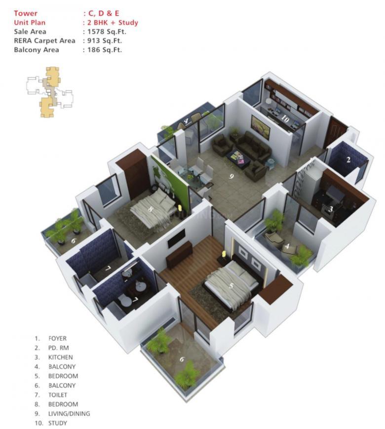 Imperia Esfera Floor Plan: 2 BHK Unit with Built up area of 1578 sq.ft 1
