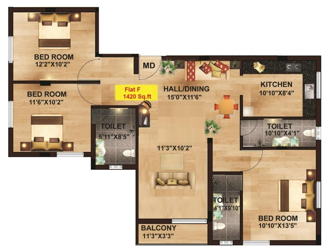 Yuktha Floor Plan: 3 BHK Unit with Built up area of 1420 sq.ft 1