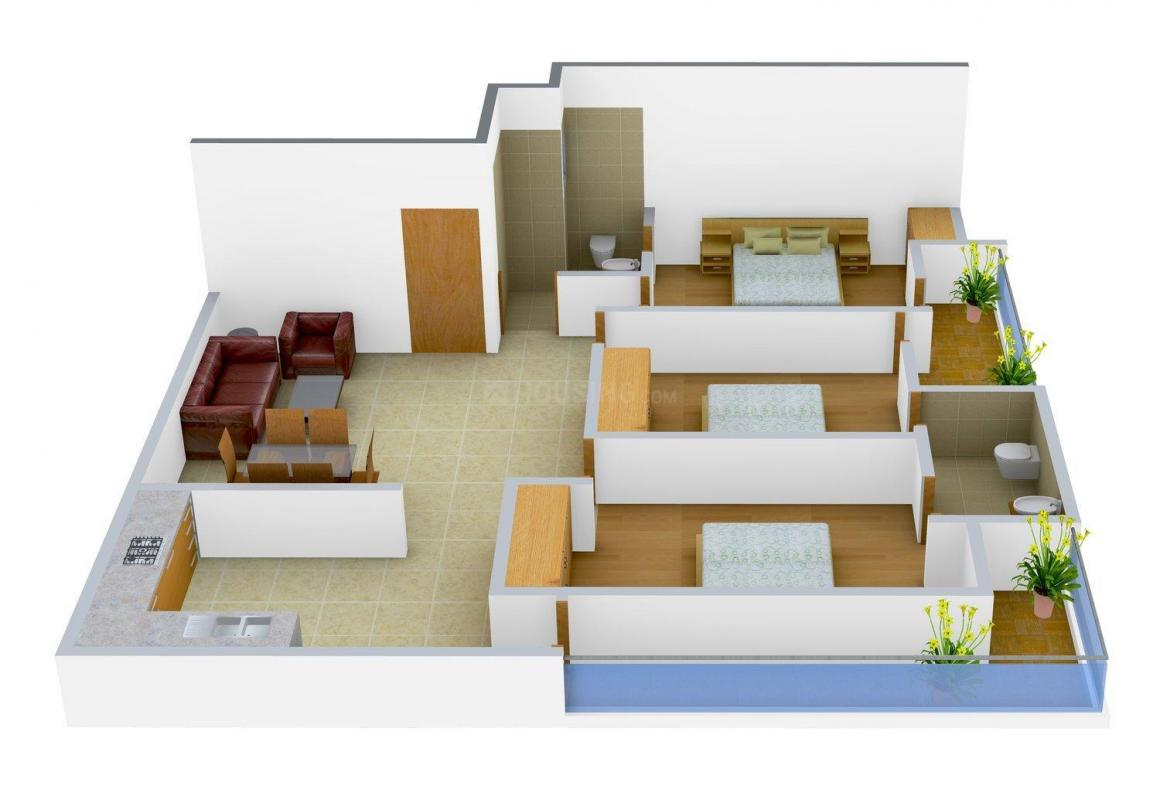 Floor Plan Image of 0 - 900 Sq.ft 3 BHK Independent Floor for buy in 8 Majestic Homes - V
