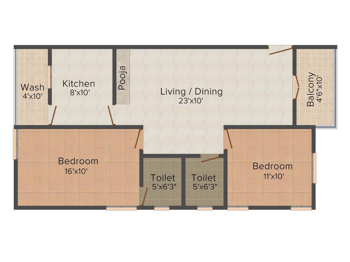 Floor Plan Image of 805.0 - 950.0 Sq.ft 2 BHK Apartment for buy in Jass Dwaraka