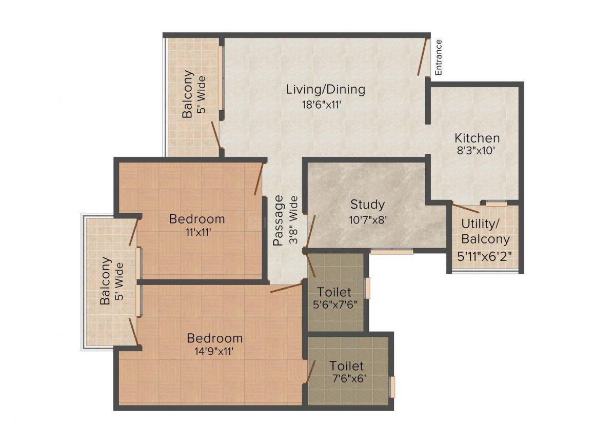 Right Emilia Floors Floor Plan: 2 BHK Unit with Built up area of 1620 sq.ft 1