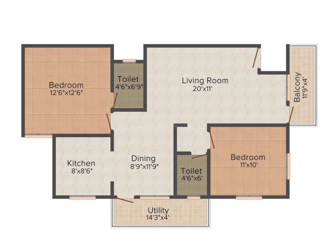 Floor Plan Image of 1095.0 - 1370.0 Sq.ft 2 BHK Apartment for buy in Shivaganga Dwarkamai