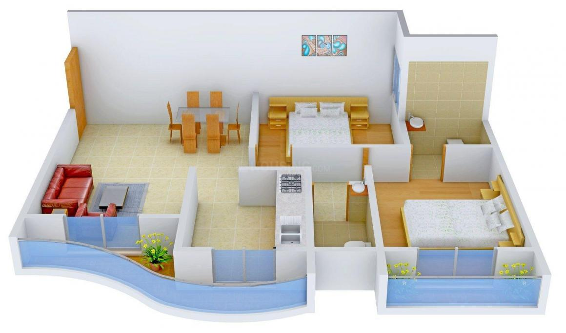 Greencourt's Court Avenue Floor Plan: 2 BHK Unit with Built up area of 960 sq.ft 1