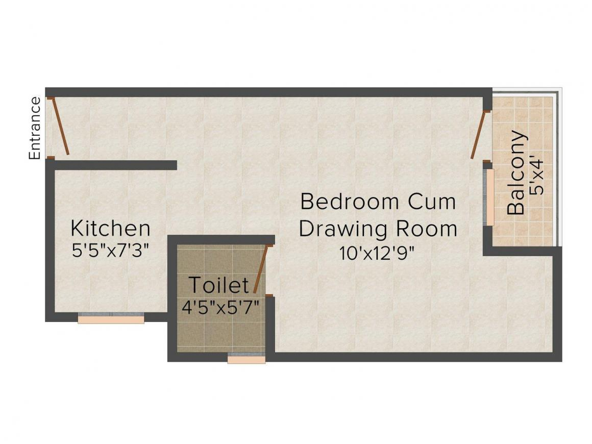 Floor Plan Image of 212.0 - 1500.0 Sq.ft 1 RK Apartment for buy in Zestha Platinum Tower
