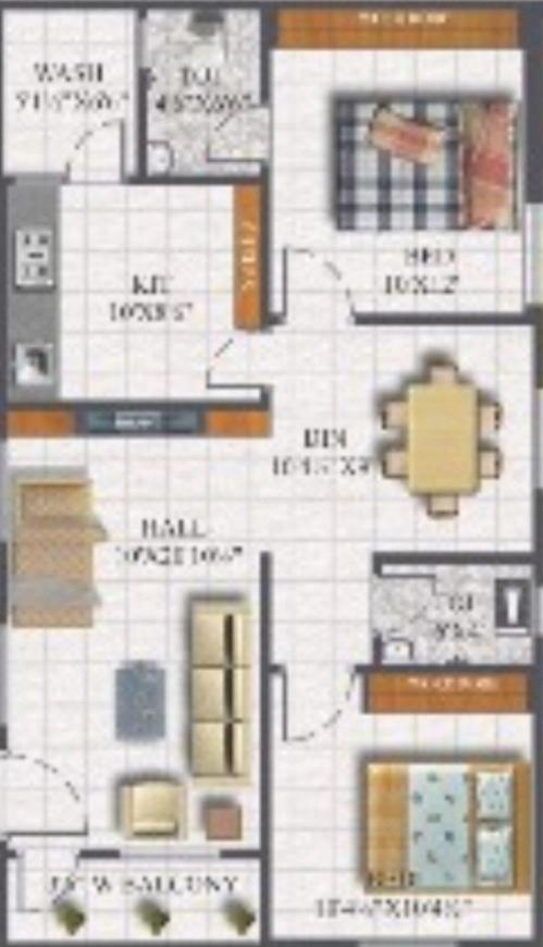 Cresco Defence Residency Floor Plan: 2 BHK Unit with Built up area of 620 sq.ft 1