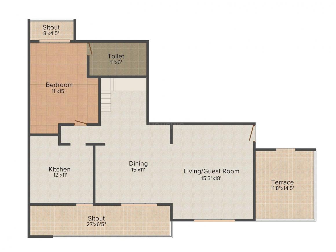 Aradhana Green Floor Plan: 3 BHK Unit with Built up area of 2136 sq.ft 1