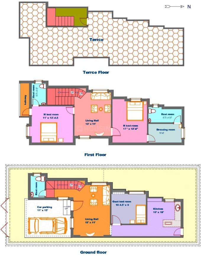 JR Crown Floor Plan: 3 BHK Unit with Built up area of 1650 sq.ft 1