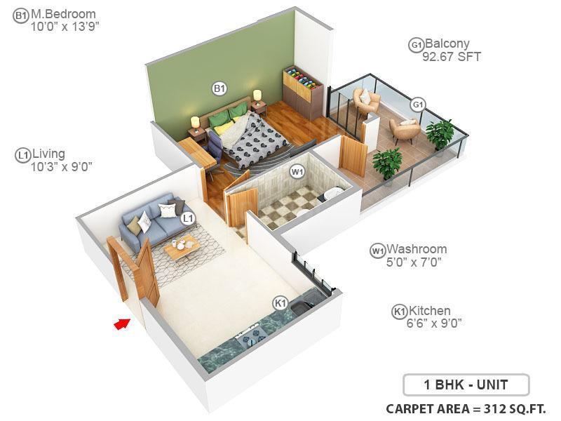 ROF Amaltas Floor Plan: 1 BHK Unit with Built up area of 312 sq.ft 1