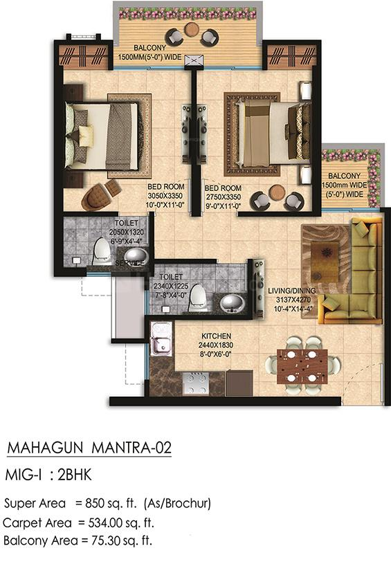 Mahagun Mantra 2 Floor Plan: 2 BHK Unit with Built up area of 850 sq.ft 1