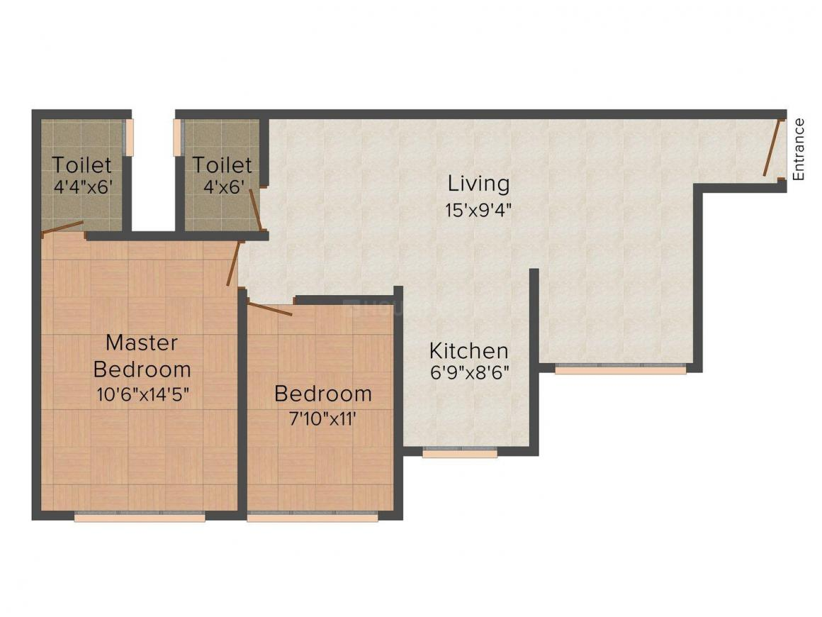 Floor Plan Image of 612.0 - 1033.0 Sq.ft 2 BHK Apartment for buy in Vas Infrastructure Pushp Vinod - 2