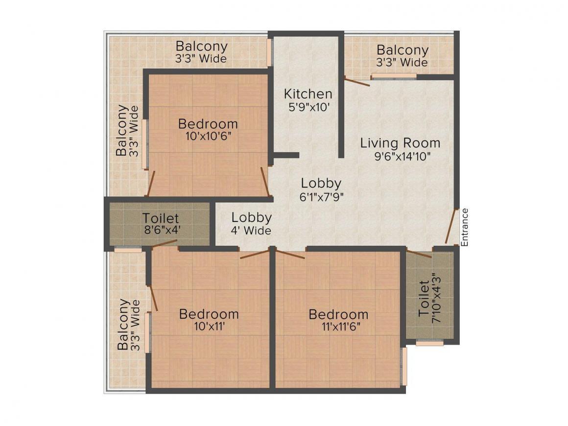 Floor Plan Image of 0 - 810.0 Sq.ft 3 BHK Independent Floor for buy in SP Floor 3