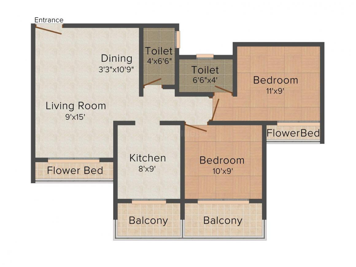 Floor Plan Image of 500 - 700 Sq.ft 1 BHK Apartment for buy in Padmavati Life Style Phase II