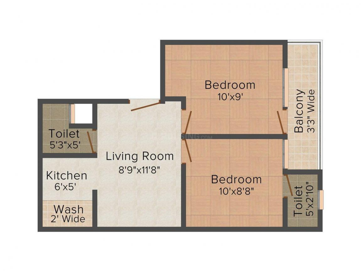 Shivam Floors Floor Plan: 2 BHK Unit with Built up area of 900 sq.ft 1