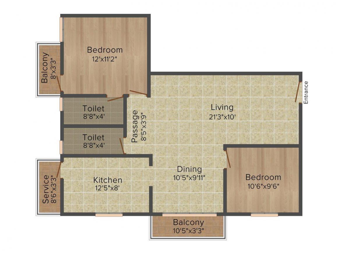 Ritechoice Pallavaram Floor Plan: 2 BHK Unit with Built up area of 1120 sq.ft 1