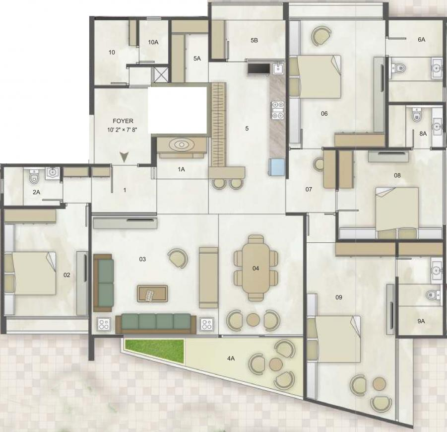 SSB Shalin Exotica Floor Plan: 4 BHK Unit with Built up area of 2129 sq.ft 1