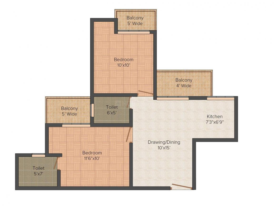 Floor Plan Image of 700.0 - 1000.0 Sq.ft 2 BHK Apartment for buy in Skytech Colour Avenue