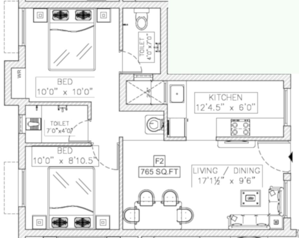 SI Shivanshika Floor Plan: 2 BHK Unit with Built up area of 765 sq.ft 1