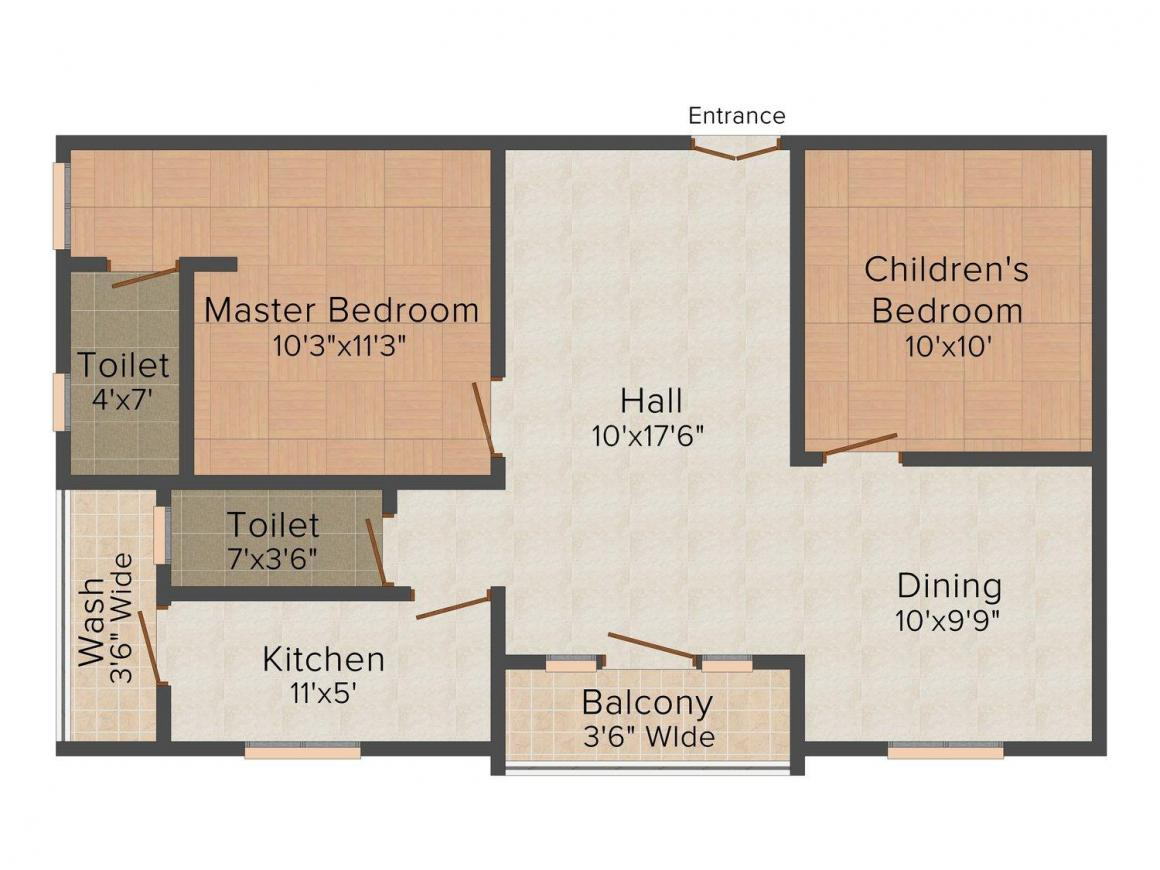 Floor Plan Image of 0 - 1051 Sq.ft 2 BHK Apartment for buy in B.S. Residency