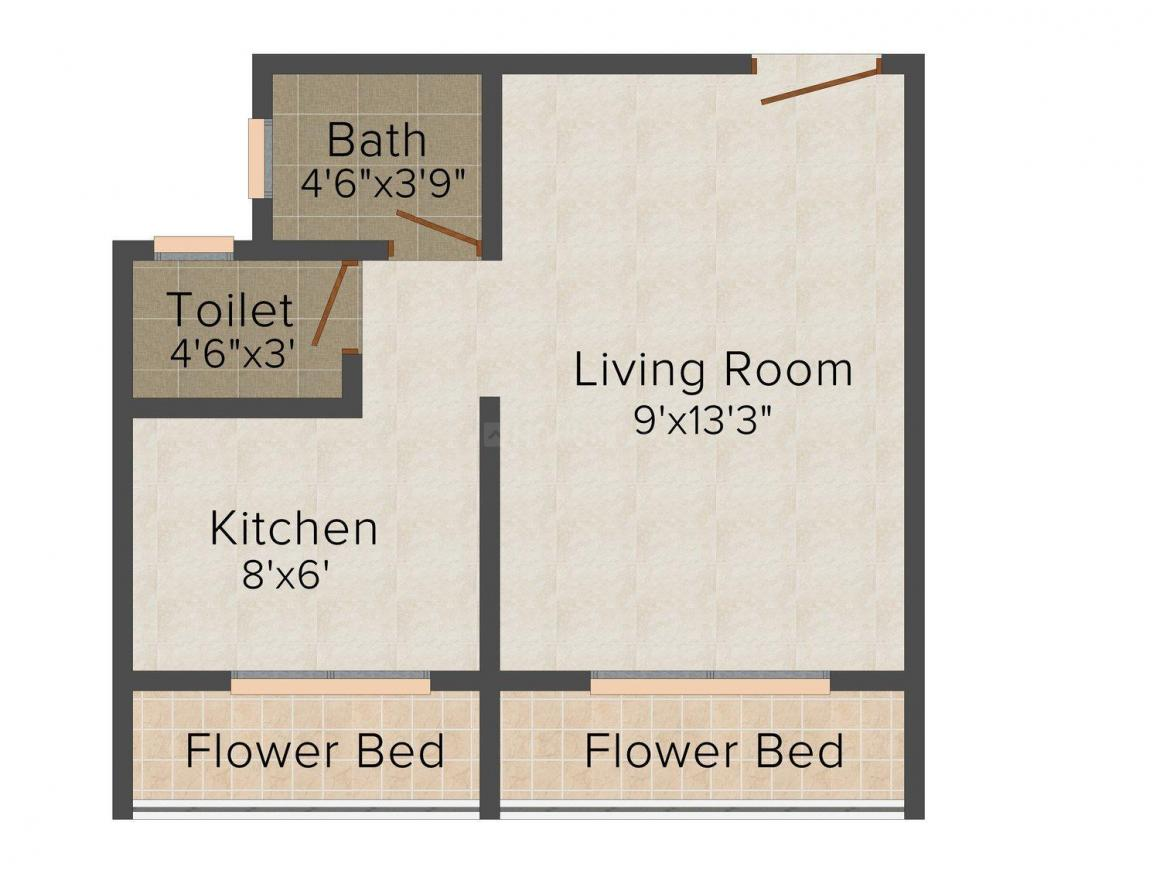 Floor Plan Image of 350 - 540 Sq.ft 1 RK Apartment for buy in Om Sai