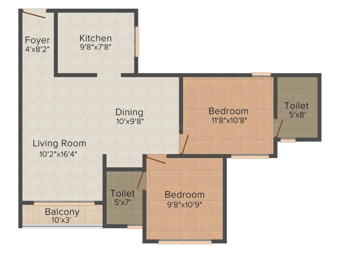 Floor Plan Image of 744.0 - 1434.0 Sq.ft 1 BHK Apartment for buy in SFS Iris Apartments